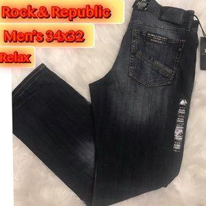Rock & Republic Men's Relax & Straight Jeans 34x32